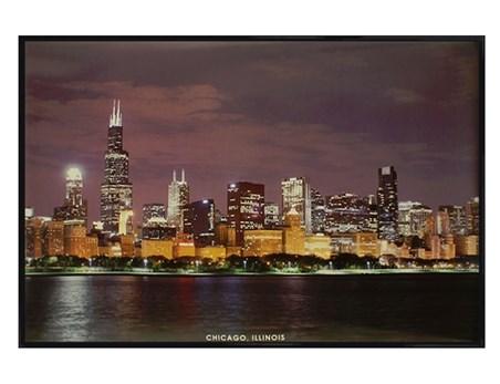 Gloss Black Framed Chicago Skyline - Illinois