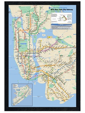 Black Wooden Framed New York Subway Framed Poster