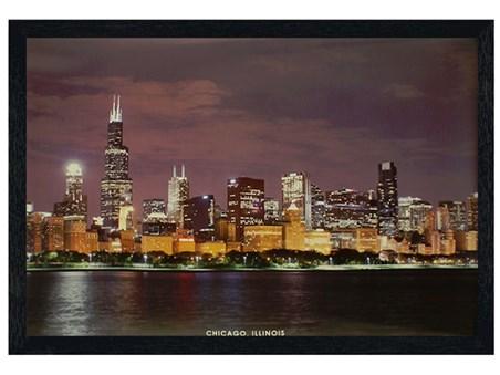 Black Wooden Framed Chicago Skyline - Illinois