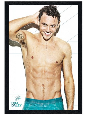 Black Wooden Framed Tom Daley - English Swimmer