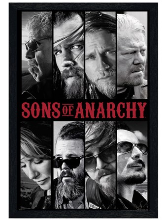 Black Wooden Framed Sons of Anarchy Collage - Character Head Shots