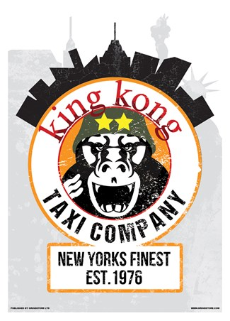 Framed King Kong Taxi Company Mini Poster - Inspired By Taxi Driver