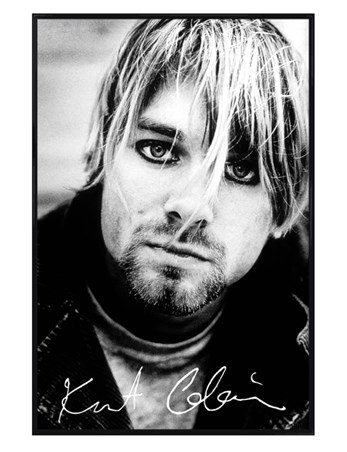 Gloss Black Framed Grunge Hero - Kurt Cobain