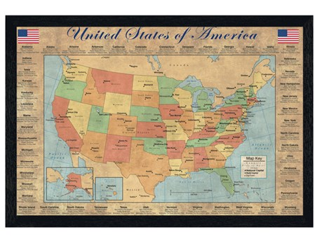 Black Wooden Framed The 50 States Of America United States Of America Map Framed Poster Popartuk