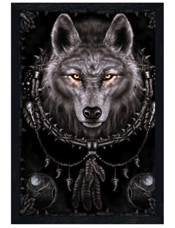 Black Wooden Framed Wolf Dreams - Spiral