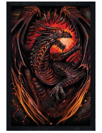 Black Wooden Framed Dragon Furnace - Spiral