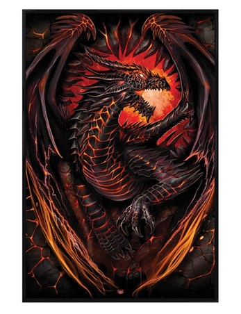 Gloss Black Framed Dragon Furnace - A World of Fire