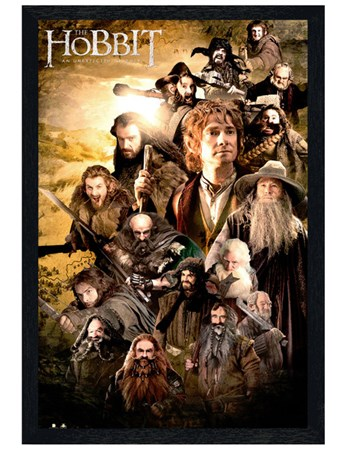 Black Wooden Framed Character Collage - The Hobbit