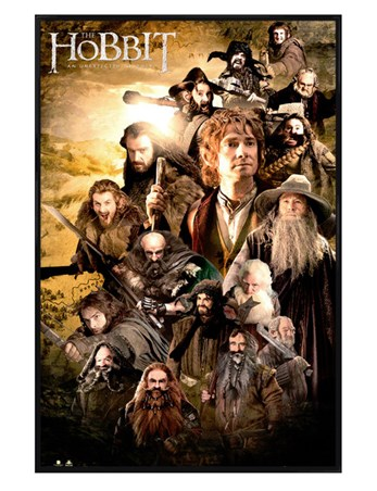 Gloss Black Framed Character Collage - The Hobbit