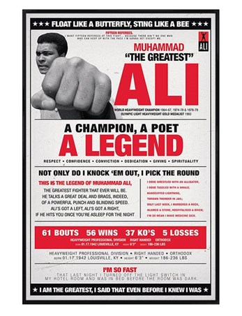 Gloss Black Framed A Champion, A Poet, A Legend - Muhammad Ali