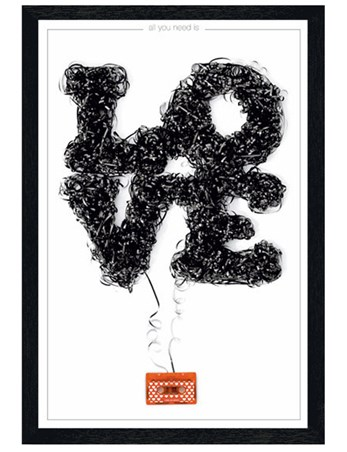 Black Wooden Framed All You Need Is Love - Love Tape