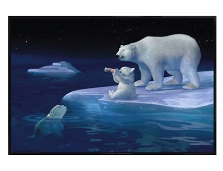 Gloss Black Framed Polar Bear Refreshment - Coca Cola