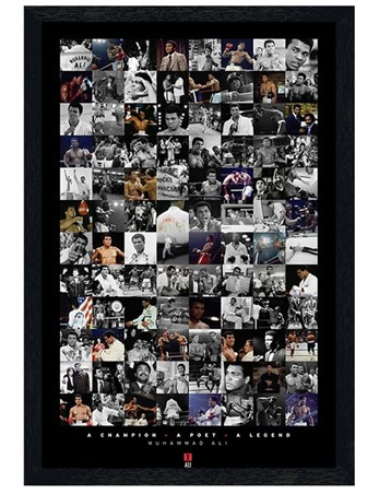 Black Wooden Framed Boxing Legend Compilation - Muhammad Ali