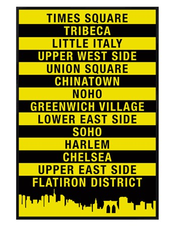 Gloss Black Framed Signs of The Big Apple - New York City