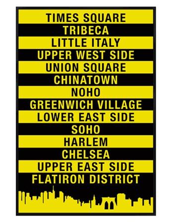 Framed Gloss Black Framed Signs of The Big Apple - New York City