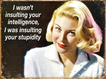 Insulting Your Intelligence - Your Stupidity