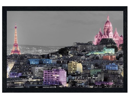 Black Wooden Framed Parisian Landmarks in Colour - Paris