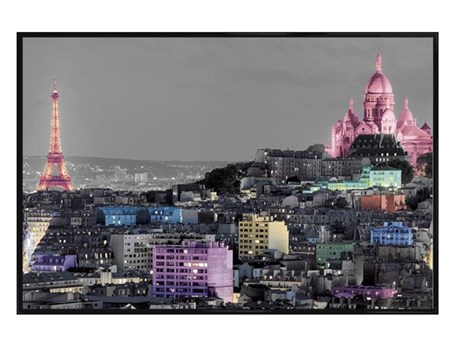 Gloss Black Framed Parisian Landmarks in Colour - Paris