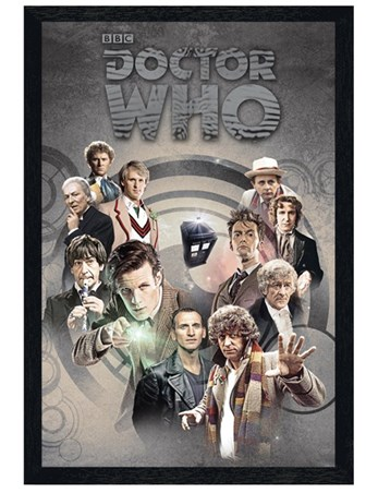 Black Wooden Framed Time Lords Through Time - Doctor Who