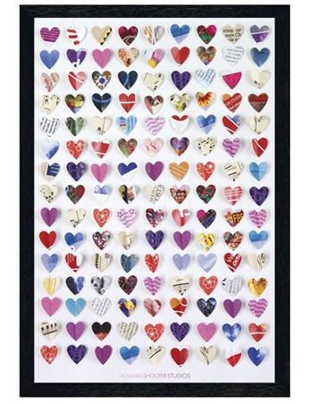 Black Wooden Framed Paper Hearts Framed Poster