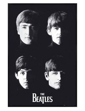 Gloss Black Framed Liverpool Lads - The Beatles