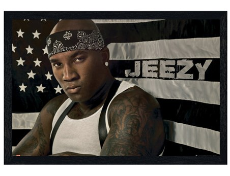 Black Wooden Framed Hustlerz Ambition - Young Jeezy