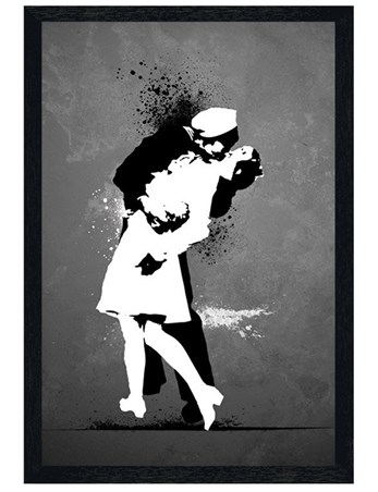 Black Wooden Framed War's End Kiss - Love in Black and White