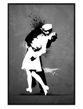 Gloss Black Framed War's End Kiss - Sailor and Woman Kissing