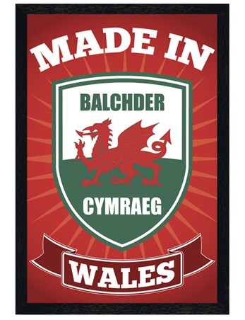 Black Wooden Framed Made in Wales - Welsh Pride