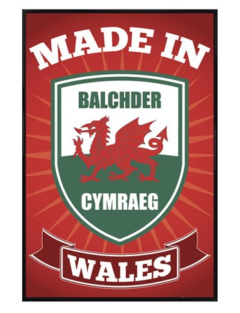 Gloss Black Framed Made in Wales - Welsh Pride