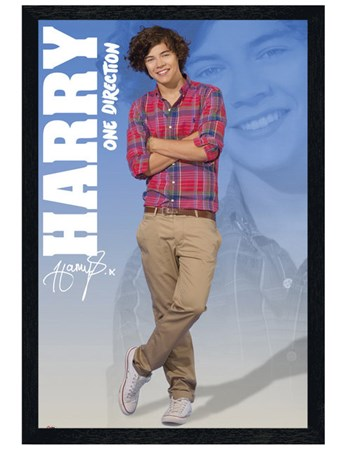 Black Wooden Framed Harry - One Direction