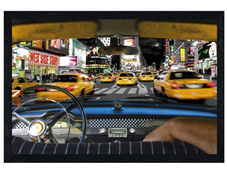 Black Wooden Framed Times Square Taxi - New York