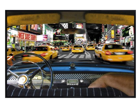 Gloss Black Framed Times Square Taxi - New York