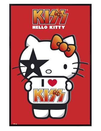 Gloss Black Framed I Love Kiss - Sanrio's Hello Kitty