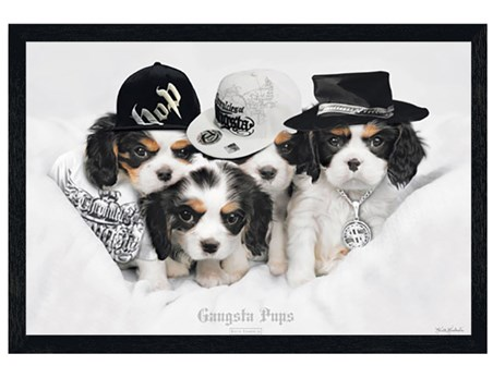 Black Wooden Framed Gangsta Pups - Keith Kimberlin