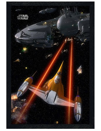 Black Wooden Framed Space Battle - Star Wars