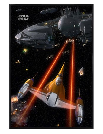 Gloss Black Framed Space Battle - Star Wars