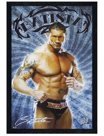 Black Wooden Framed Batista - WWE