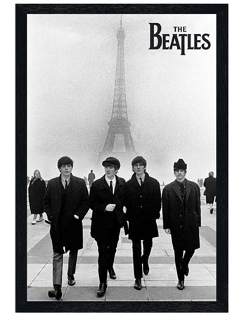 Black Wooden Framed Liverpool Lads in Paris - The Beatles