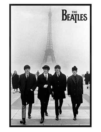 Gloss Black Framed Liverpool Lads In Paris The Beatles Poster