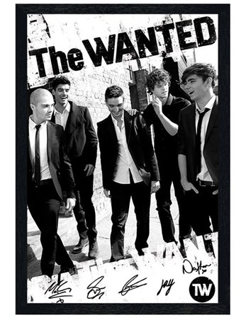 Framed Black Wooden Framed Boys in Black and White - The Wanted
