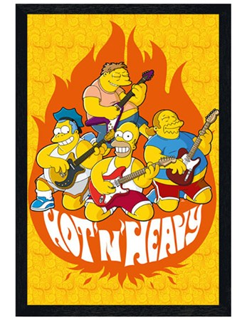 Black Wooden Framed Hot and Heavy - The Simpsons