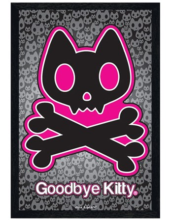 Black Wooden Framed Goodbye Kitty - David & Goliath