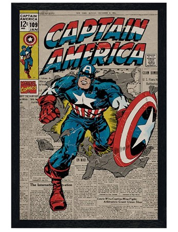 Black Wooden Framed A True Marvel Hero - Captain America