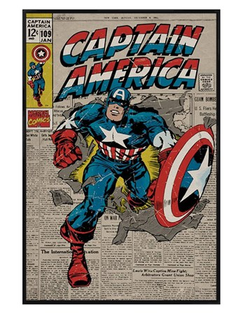 Gloss Black Framed A True Marvel Hero - Captain America