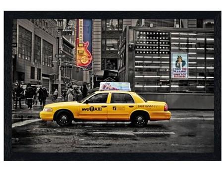 Black Wooden Framed Cab on 7th Avenue - New York City