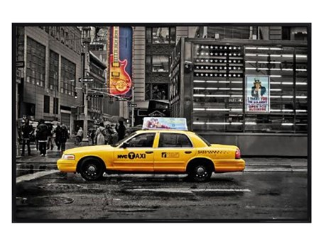 Gloss Black Framed Cab on 7th Avenue - New York City