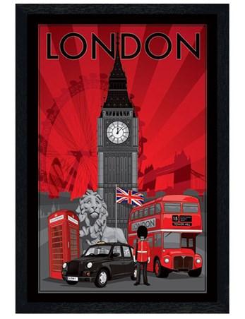 Black Wooden Framed DecoScape - London