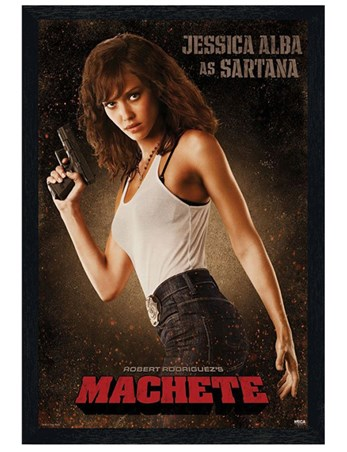 Black Wooden Framed Jessica Alba is Sartana - Machete