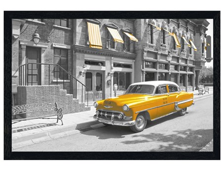 Black Wooden Framed Yellow Cab in Manhattan - New York